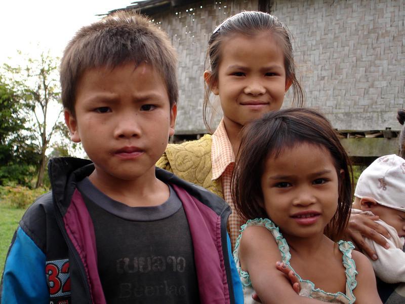 kids along the trip in Laos