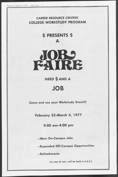 Daily Trojan, Vol. 71, No. 7, February 16, 1977
