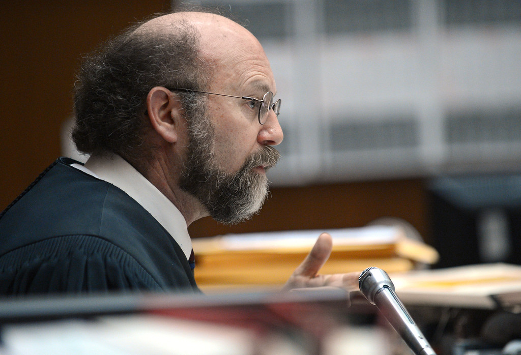 . Superior Court Judge Rand S. Rubin presiding over the David Viens murder trial in the death of Dawn Viens.  Photo by Brad Graverson/LANG 3-22-13