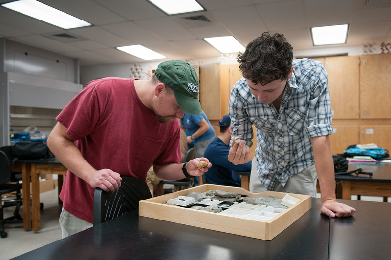 Chris Wadowsky and Wesley Garcia working intensively in their Invertebrate Paleontology course.