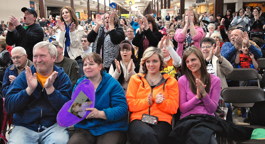 . Jeff Forman/JForman@News-Herald.com Audience members cheer for their favorites at the Deepwood Idol Show March 29 at the Great Lakes Mall. The show was presented by the Lake County Board of Developmental Disabilities/Deepwood.