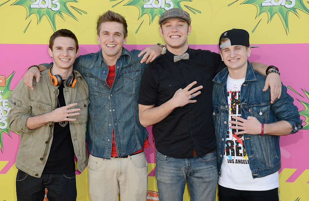 . LOS ANGELES, CA - MARCH 23:  Musicians (L-R) Kieran Ackerman, Aaron Scott, Ben Robinson and Adam Ackerman of Four Count arrive at Nickelodeon\'s 26th Annual Kids\' Choice Awards at USC Galen Center on March 23, 2013 in Los Angeles, California.  (Photo by Frazer Harrison/Getty Images for KCA)
