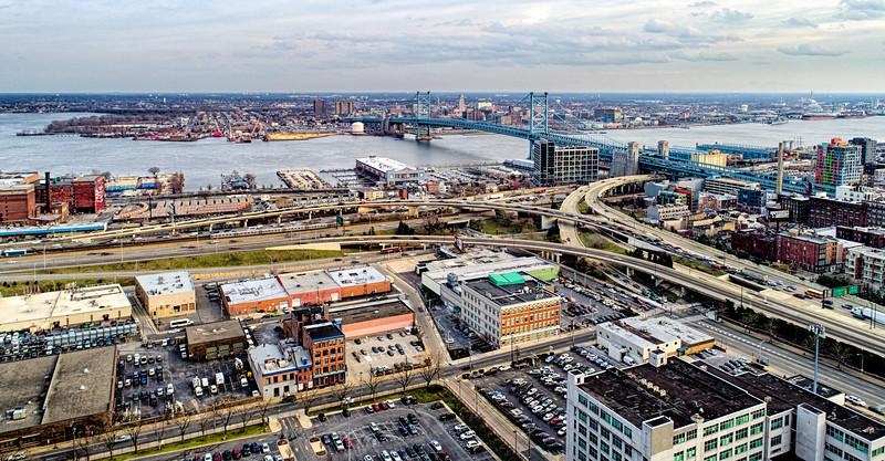 Ben Franklin Bridge & Surrounding Aerial-.jpg