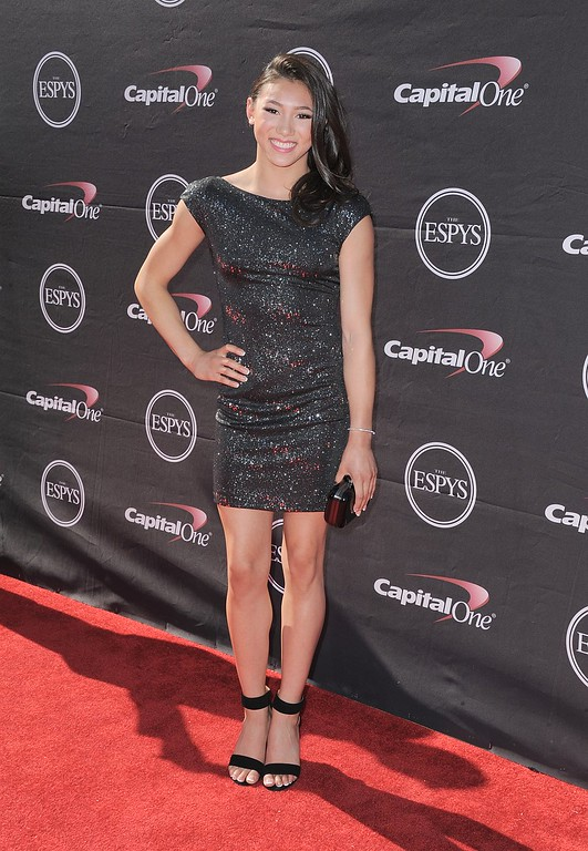 . Gymnast Kyla Ross arrives at the ESPY Awards on Wednesday, July 17, 2013, at Nokia Theater in Los Angeles. (Photo by Jordan Strauss/Invision/AP)