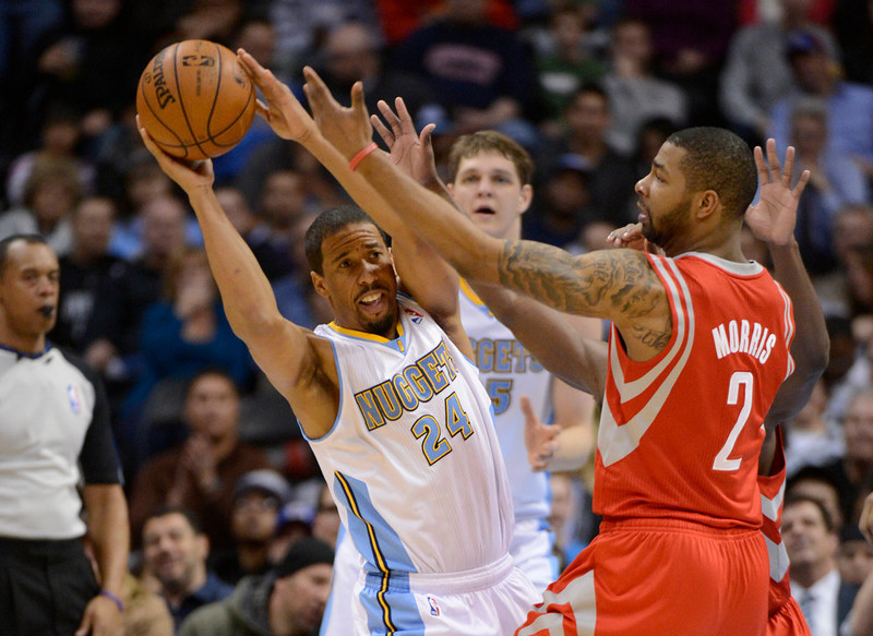 . DENVER, CO. - JANUARY 30: Denver Nuggets point guard Andre Miller (24) is forced by Houston Rockets power forward Marcus Morris (2) to make a pass by during the third quarter January 30, 2013 at Pepsi Center. The Denver Nuggets take on the Houston Rockets in NBA action. (Photo By John Leyba/The Denver Post)