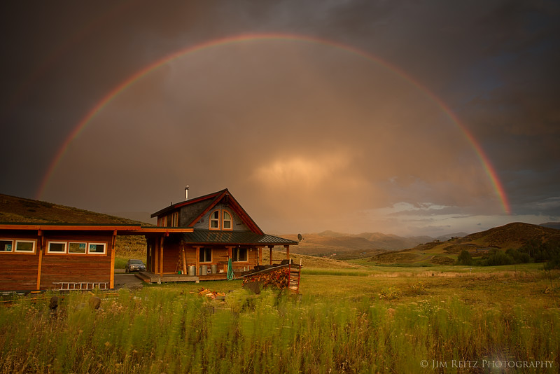 After the thunderstorm, we were treated to this amazing rainbow over the cabin.