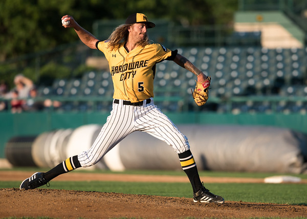 06/29/18 Wesley Bunnell | Staff The New Britain Bees were defeated 6-4 by the Southern Maryland Blue Crabs. Mark Hamburger (5).