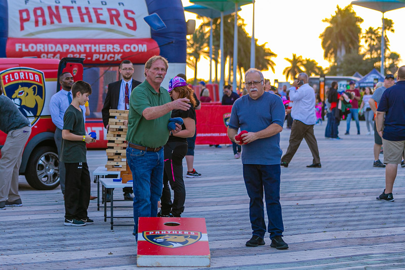 Fans play a game of cornhole on the Jet Blue Tarmac at the BB&T Center in Sunrise, FL on Thursday, February 13, 2020 where the Florida Panthers hosted the Philadelphia Flyers. The Flyers went on to beat the Panthers 6-2. [JOSEPH FORZANO/palmbeachpost.com]