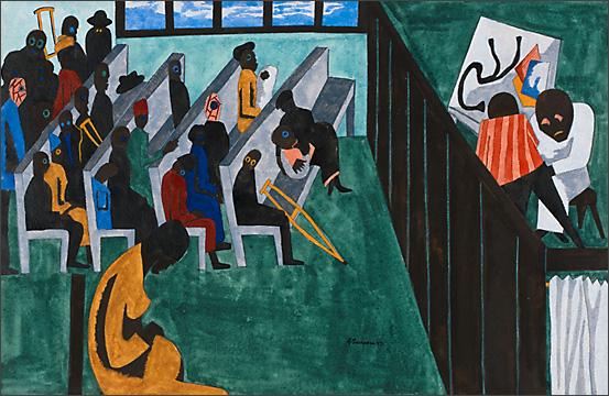 "Jacob Lawrence, ""Harlem Hospital's Free Clinic"" (1943)"