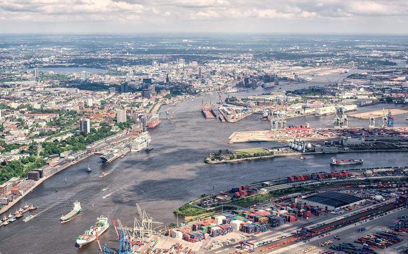 Luftbild Hamburg Hafen Innenstadt Alster
