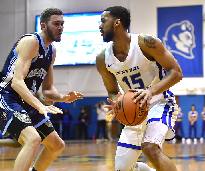 12/7/2019 Mike Orazzi | Staff CCSU's Jamir Coleman (15) during Saturday's mens basketball game with the University of Maine in New Britain.