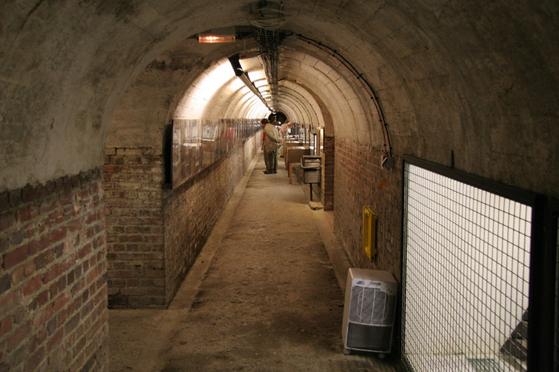 Underground tunnels at Albert, northern France.  These were use by the residents of the town to shelter during German bombing in World War 1.  The Battle of the Somme took place a few kilometres out of town.