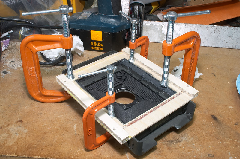 Clamped and letting the epoxy cure