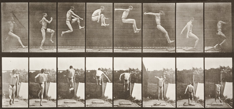 Man in pelvis cloth running and jumping (Animal Locomotion, 1887, plate 160)