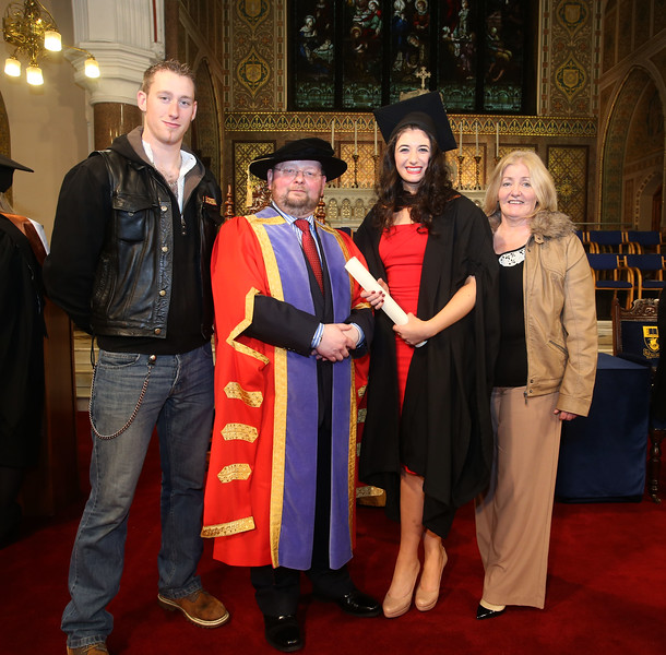 Pictured is Pamela Uddin from Waterford who graduated Bachelor of Arts (Hons) Marketing, also in photo is from left Nathan Ryan, Dr. Derek O'Byrne, Registrar of Waterford Institute of Technology (WIT) and on right Regina Uddin. Picture: Patrick Browne