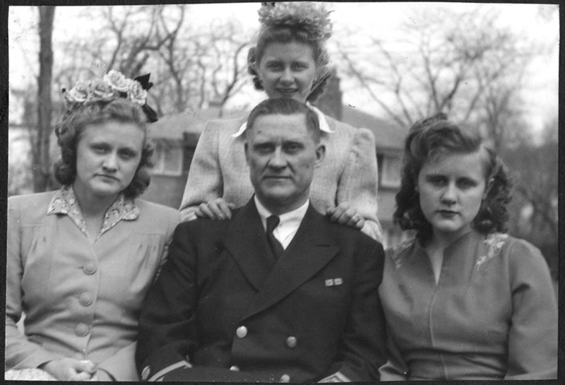 Three Sisters and Their Dad 1942