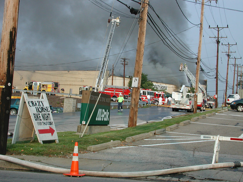 The Crazy Horse Bar on Rt # 50 in Bridgeville was on fire when I past in on monday Sept 11, 2006, to begin my trip to West Va.