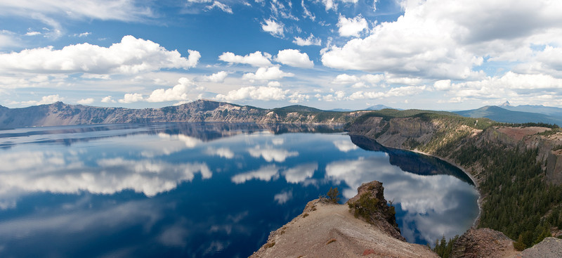Panoramic view over Crater Lake in South Central Oregon