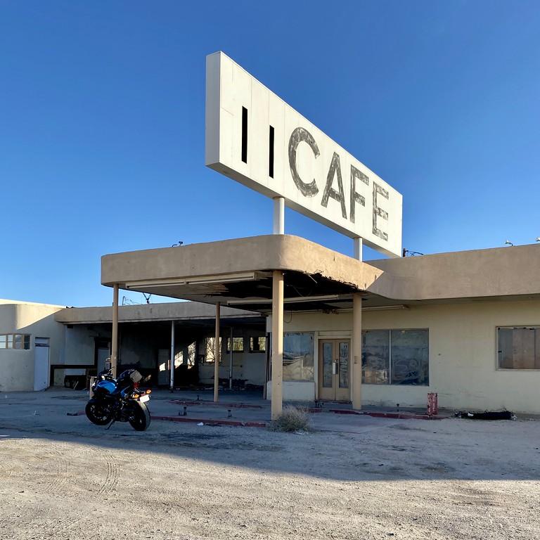 abandoned cafe in desert center california