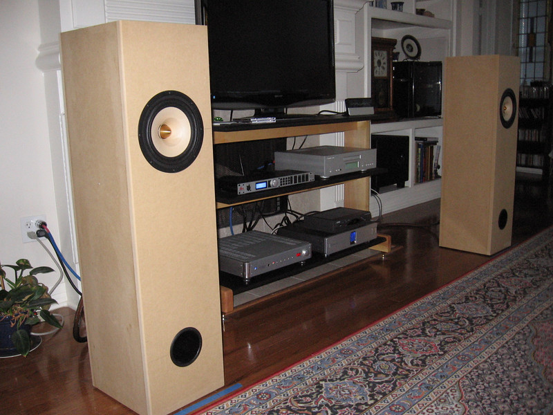 The Brines Acoustics TT-2000 full range speakers shown with associated equipment, including the Logitech Squeezebox music server, Cambridge Audio 840 CD player, dbx DriveRack + signal processor, Krell KAV-400xi integrated amp, Belkin power filter.