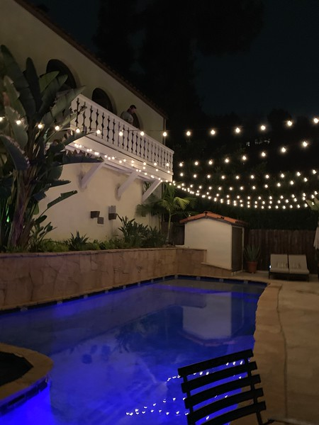 2019.06.01 Home - Pool string lights installation