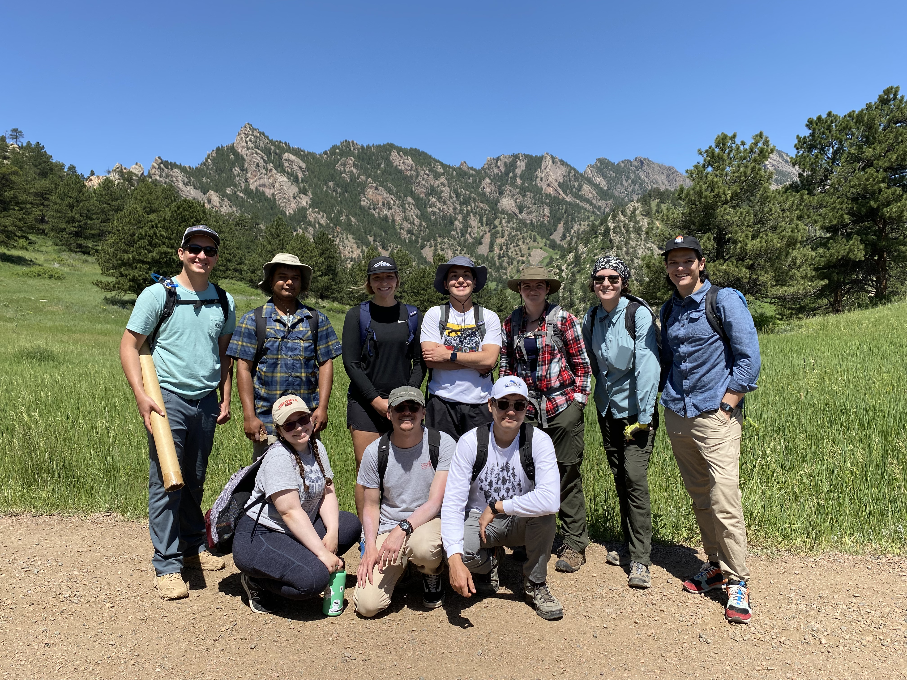 RESESS and GLP interns take in a day of Front Range geology and graduate school research exposure on a field trip led by Kevin Mahan (CU) and fellow graduate students: Enrique Chon, Michael Frothingham, Ciara Asamoto, Joel Johnson, Ellen Alexander, and Elizabeth Menezes. Boulder, CO. June 12, 2021. (Photo/Kelsey Russo-Nixon, UNAVCO).