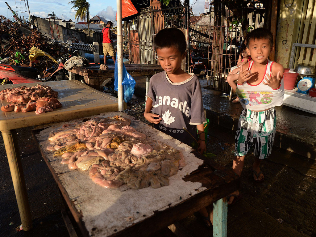 . Two young boys look at pig intestines for sale as some shops start to reopen in Tacloban after Typhoon Haiyan hit the east coast of the Philippines, on November 21, 2013.  The Philippines has received loan pledges totaling one billion dollars to help rebuild areas ravaged by super Typhoon Haiyan, after the World Bank matched an Asian Development Bank offer.     AFP PHOTO/Mark RALSTON/AFP/Getty Images