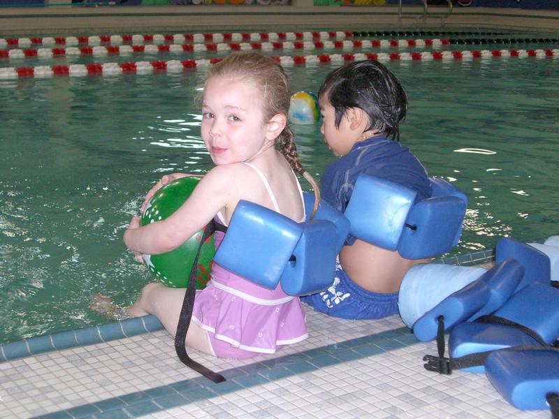 She got her ball! Swim lessons - week 4