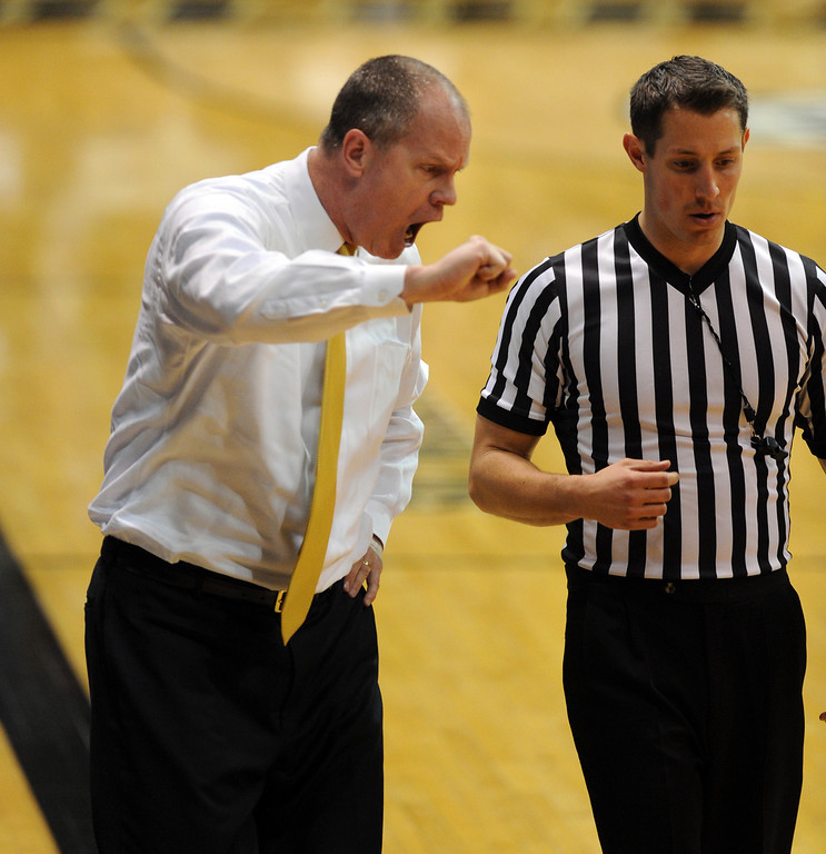 . Tad Boyle had a difficult time with the officiating during the second half of the January 24th, 2013 game in Boulder. For more photos of the game, go to www.dailycamera.com. Cliff Grassmick / January 24, 2013