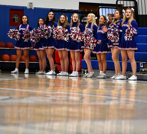 1/15/2020 Mike Orazzi | StaffrSt. Paul Catholic High School Cheerleaders at Wednesday night's boys basketball game with Watertown in Bristol. r
