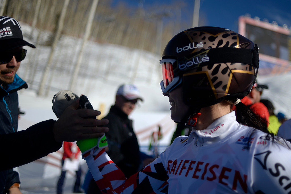 . BEAVER CREEK, CO - FEBRUARY 12: Champion Anna Fenninger of Austria receives a high five after winning during the ladies\' giant slalom. FIS Alpine World Ski Championships 2015 on Thursday, February 12, 2015. (Photo by AAron Ontiveroz/The Denver Post)