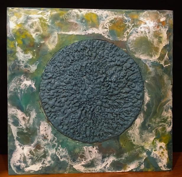 "Blue Moon. Encaustic on wood panel. 12"" x 12"""