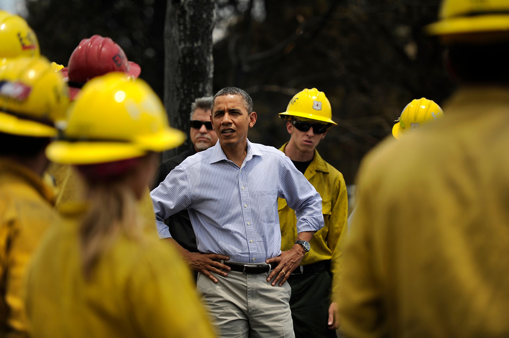 . President Obama visits firefighters and views the damage to the Mountain Shadows neighborhood from the Waldo Canyon fire in Colorado Springs Friday, June 29, 2012.   Joe Amon, The Denver Post