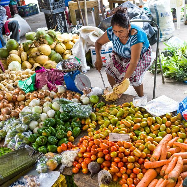 Woman selling vegetables, San Ignacio, Belize