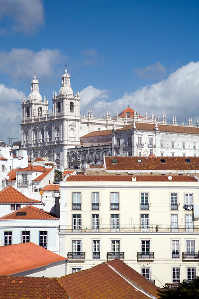 View of Lisbon from Santa Luzia viewpoint. Sao Miguel church on the top.