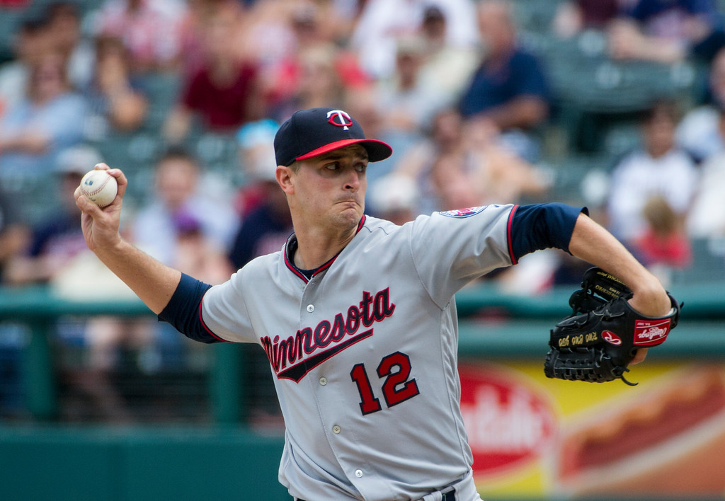 . Minnesota Twins starting pitcher Jake Odorizzi delivers toCleveland Indians\' Jose Ramirez during the first inning of a baseball game in Cleveland, Thursday, Aug. 30, 2018. (AP Photo/Phil Long)