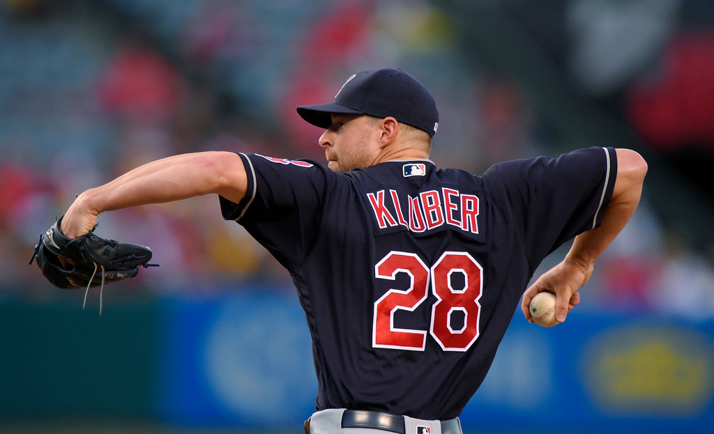 . Cleveland Indians starting pitcher Corey Kluber throws during the first inning of a baseball game against the Los Angeles Angels, Friday, June 10, 2016, in Anaheim, Calif. (AP Photo/Mark J. Terrill)