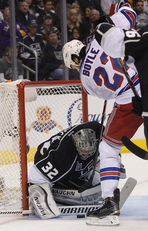 . Kings#32 Jonathan Quick stops a shot by Rangers#22 Brian Boyle in the 2nd period. The Los Angeles Kings faced the New York Rangers in game 2 of the Stanley Cup Final.  Los Angeles, CA. 6/7/2014(Photo by John McCoy Daily News)