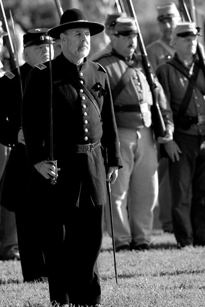 The infantry stands at attention during a parade demonstration at Ft. Moultrie in Sullivan's Island, South Carolina on Monday, April 11, 2011. ..The 150th Anniversary of the Firing on Ft. Sumter was commemorated with lectures, performances, demonstrations, and a living history throughout the area on James Island, Charleston, Mt. Pleasant, and Sullivan's Island during the week from April 8-14, 2011. Photo Copyright 2011 Jason Barnette