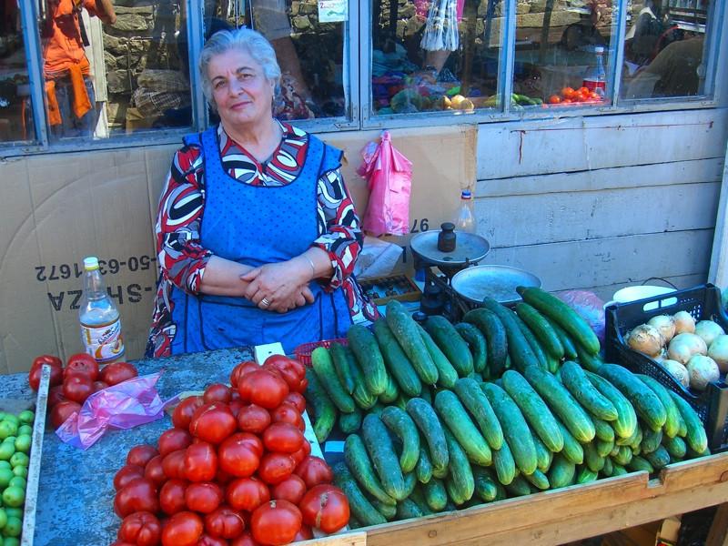 Cucumber and Tomato Vendor - Akhaltsikhe, Georgia