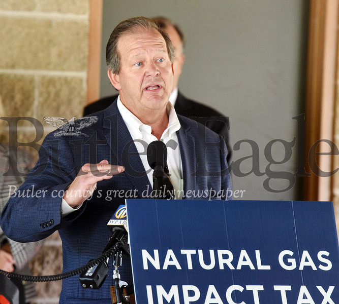 Harold Aughton/Butler Eagle: David Spigelmyer, president of the Pittsburgh, Pa.-based Marcellus Shale Coalition, provides remarks on the benefits of the gas impact fee, Tuesday, August 20, at Alameda Park.