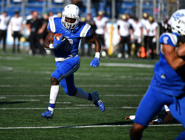 10/19/2019 Mike Orazzi | StaffrCCSUs Keonte Lucas (26) during Saturday's football game with Bryant in New Britain.