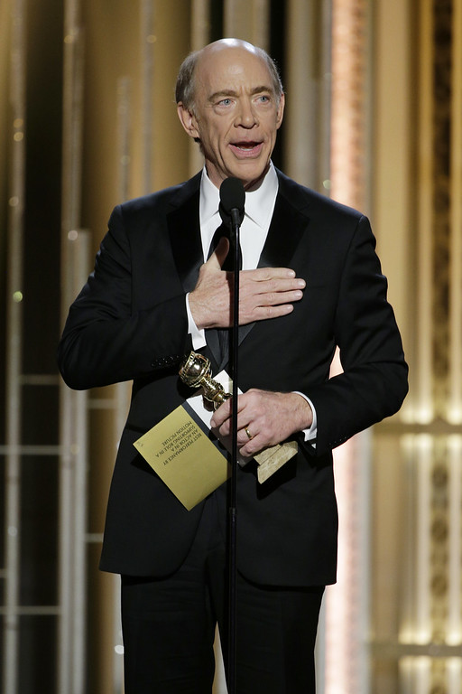 ". BEVERLY HILLS, CA - JANUARY 11:  In this handout photo provided by NBCUniversal, J.K. Simmons, Winner of Best Supporting Actor - Motion Picture for Whiplash"" speaks onstage during the 72nd Annual Golden Globe Awards at The Beverly Hilton Hotel on January 11, 2015 in Beverly Hills, California.  (Photo by Paul Drinkwater/NBCUniversal via Getty Images)"