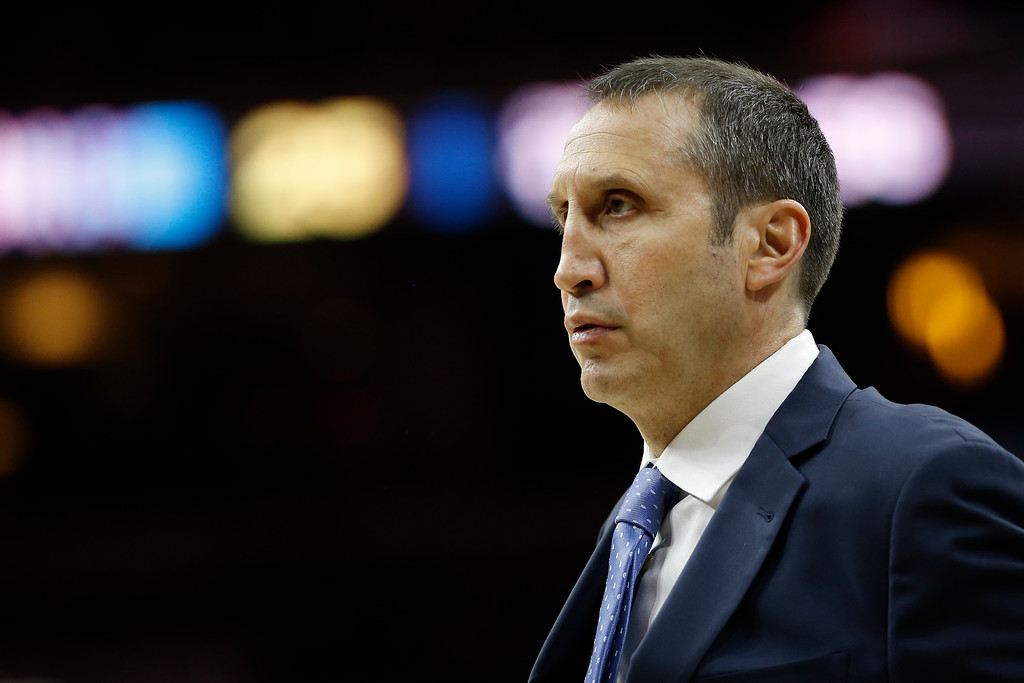 . Cleveland Cavaliers\' David Blatt in action during an NBA basketball game against the Philadelphia 76ers, Sunday, Jan. 10, 2016, in Philadelphia. (AP Photo/Matt Slocum)