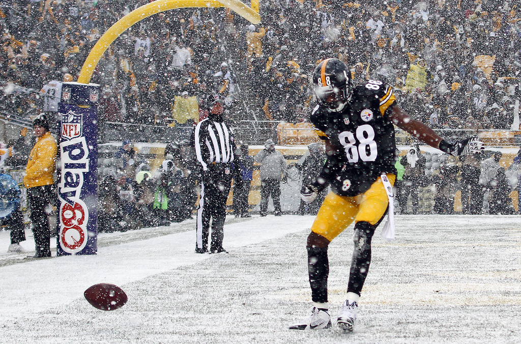 . Emmanuel Sanders #88 of the Pittsburgh Steelers celebrates after scoring on a 5 yard touchdown pass in the first half against the Miami Dolphins during the game on December 8, 2013 at Heinz Field in Pittsburgh, Pennsylvania. (Photo by Justin K. Aller/Getty Images)