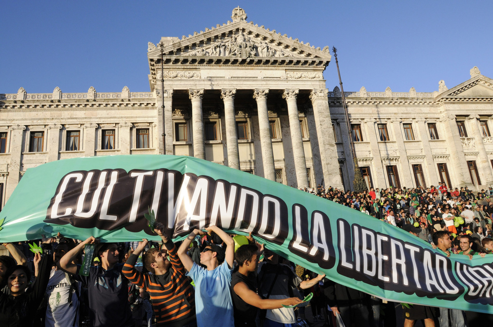 . Demonstrators participate during the so called \'Last march of the illegal marijuana\' summoned by the groups that have long standed for the legalization of marihuana in the streets of Montevideo, Uruguay, 10 December 2013. The march went up to the Legislative Palace where the Senate  legalized the production and sale of marijuana in Uruguay today.  EPA/Sandro Pereyra