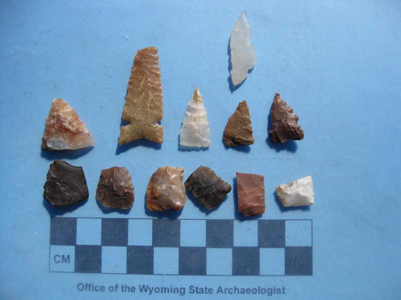 Several broken projectile points and a chert knife from a single lodge pad in the Wind River Range.