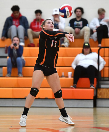 10/18/2019 Mike Orazzi | StaffrTerryville's Leah Dionne (17) during Friday night's girls volleyball match with Goodwin Tech in Terryville. r