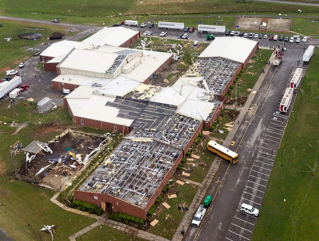 . This aerial photo shows tornado damage to South Lincoln Elementary School near Fayetteville, Tenn.,  on Wednesday, April 30, 2014.  Gov. Bill Haslam visited the area near the Alabama line that suffered heavy damage and two fatalities during Monday\'s storms. (AP Photo/Erik Schelzig)