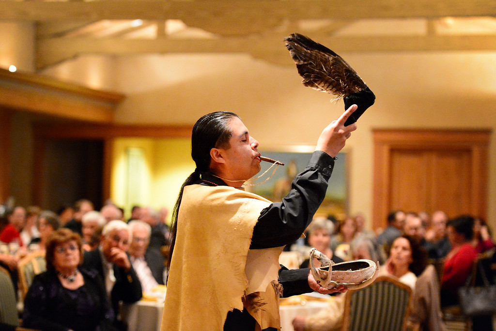 . Andrew Morales, of the Gabrieleno Tongva, blesses the San Gabriel\'s Centennial Dinner April 24, 2013. Gabrielenos have been trying for decades to have their tribe be recognized by the Federal Government causing strain amongst tribal members. They are not alone in their quest to receive federal benefits through a process that many say is an impossible bureaucracy. (SGVN/Staff Photo by Sarah Reingewirtz)